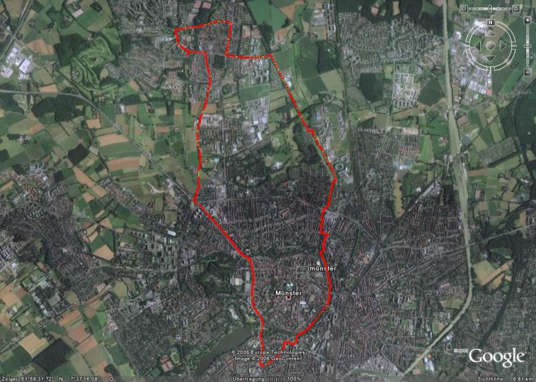 Lauf durch Kinderhaus (Google Earth 13,6 km) 26.11.06